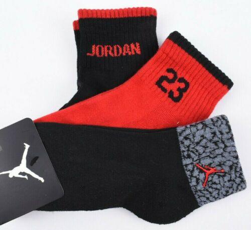 Red//Black UK junior 2-3 NIKE AIR JORDAN 3-pack Boys/' Kids/' Socks