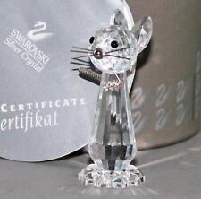 Swarovski Crystal Cat Box & COA 7606NR00003 Swan Logo Wire Tail Figurine As Is