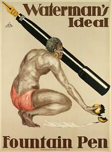 Affiche-Originale-Waterman-039-s-Ideal-Stylo-Plume-Africain-1920