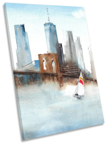 Boat New York Bridge City CANVAS WALL ARTWORK Portrait Print Art