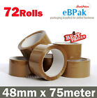 72 Roll - Brown Tape - Packing Packaging Sticky Tape 75 Meter x 48mm - 45 Micron