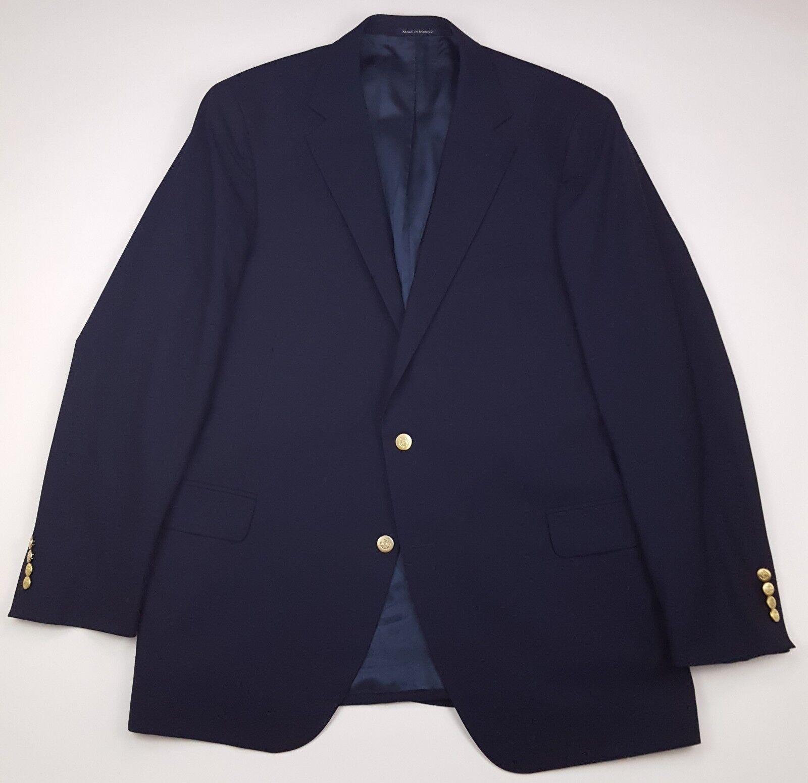 Lands End Blau Blazer 46L Navy Gold Tone Metal Buttons Wool  Herren Größe Vented Man