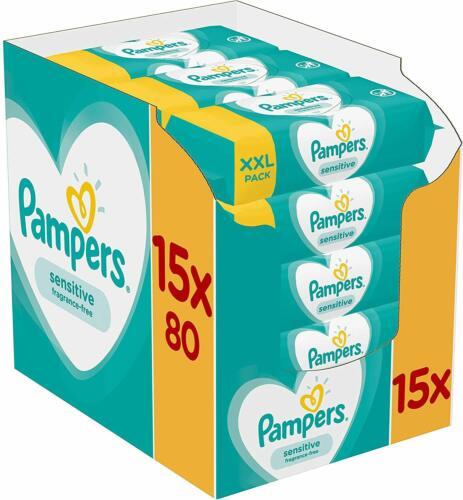 1200 Feuchttücher Pampers Sensitive Feuchttücher 15 Packungen