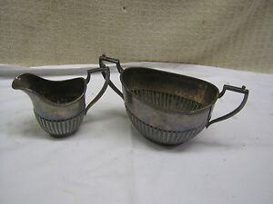 2 Vintage M.H & Co MARTINOLD  1936 Silver Plate  Milk Jug Creamer and Bowl
