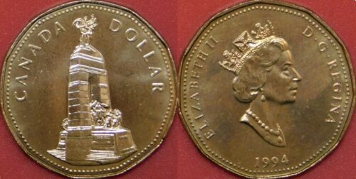 Brilliant Uncirculated 1994 Canada Cenotaph 1 Dollar From Mint/'s Roll
