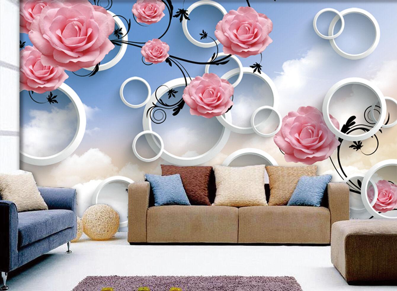 3D Fleurs Riches 12 Photo Papier Peint en Autocollant Murale Plafond Chambre Art