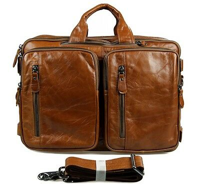 Augus Men Genuine Top Cow Leather Business Briefcase Fit 15 Inch Laptop Bag