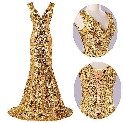 FREE P&P Stunning Sequins Evening Formal Ball gown Party Prom Dress Long Banquet