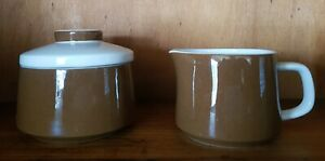 Vintage-Mikassa-Mediterrania-Expresso-Brown-creamer-and-lidded-sugar-bowl