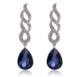 Black-Tone-Navy-Dark-Blue-Queen-Curly-Luxury-Party-Long-Drop-Stud-Earrings-E1299