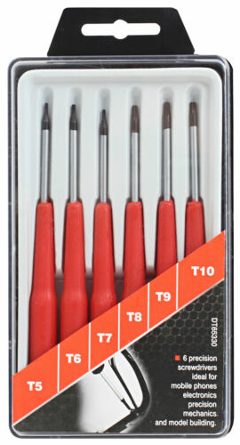 6pc Precision TORX STAR Tournevis SET T5 6 7 8 9 /& 10 magnétique durci Tips