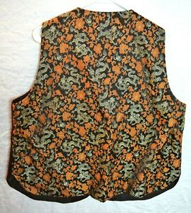 Mens-Suit-Vest-46-Chinese-Vintage-Silk-Brown-Gold-Silver-Brocade-Orient-Dragon