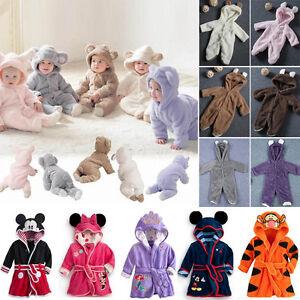Toddler-Kids-Girl-Boy-Nightgown-Robe-Sleepwear-Hood-Bathrobes-Home-wear-Pajamas