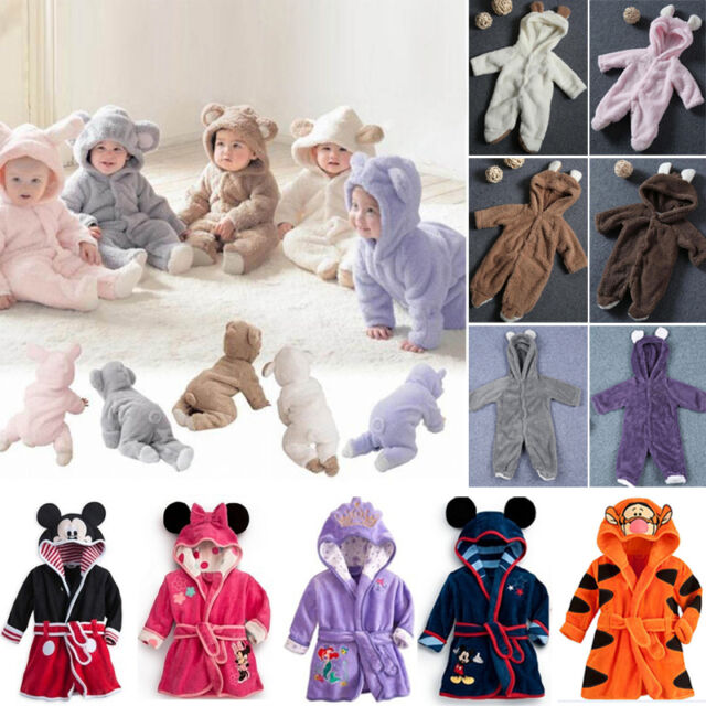 Baby Boys Girls Outfits Clothes Animal Hooded Romper Jumpsuit Bathrobe Costume