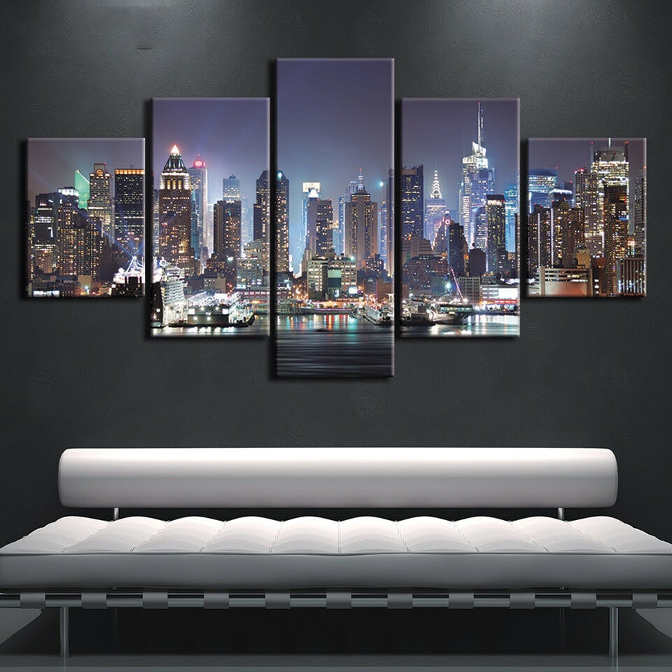 New York City Buildings 5 Panel Canvas Print Wall Art