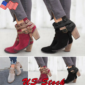 Women-039-s-High-Heel-Metal-Buckle-Belt-Round-Toe-Shoes-Ankle-Martin-Boots-Block