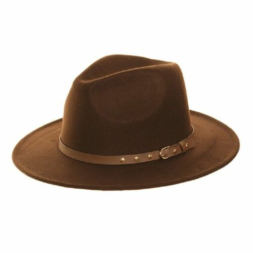 Mens Womens Felt Style Fedora Trilby Hat With Faux Leather Studded Belt Band