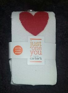 93f46e00ba3a4 Details about NEW Carter's Just One You Baby Girl 0-6 Months White Tights  With Red Hearts