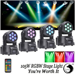 4PCS 7 LED 105W RGBW 4 in 1 LED Moving Head Stage Lighting DMX512 DJ Disco Party