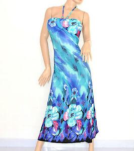 ABITO-donna-VESTITO-LUNGO-fantasia-floreale-MAXI-DRESS-da-sera-blu-azzurro-95A