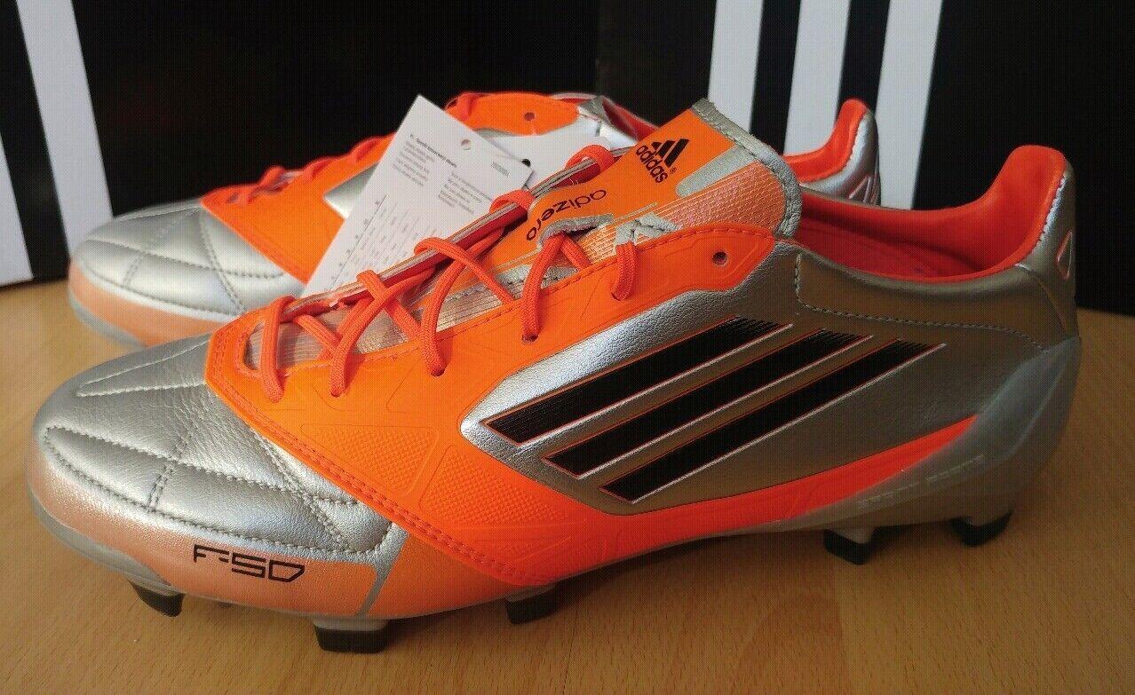 Adidas f50 ADIZERO TRX FG lea uk8 talla 42 plata naranja botas de fútbol rar nuevo embalaje original