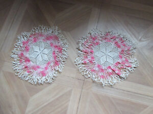 """LOT OF 2 VINTAGE HAND CROCHETED DOILIES WHITE PINK RUFFLE 9"""" CENTERPIECE"""