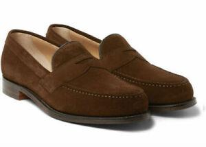 Homme-Fait-a-la-main-Formel-Chaussures-En-Daim-Marron-Mocassins-doublure-bleu-semelle-rouge-Casual