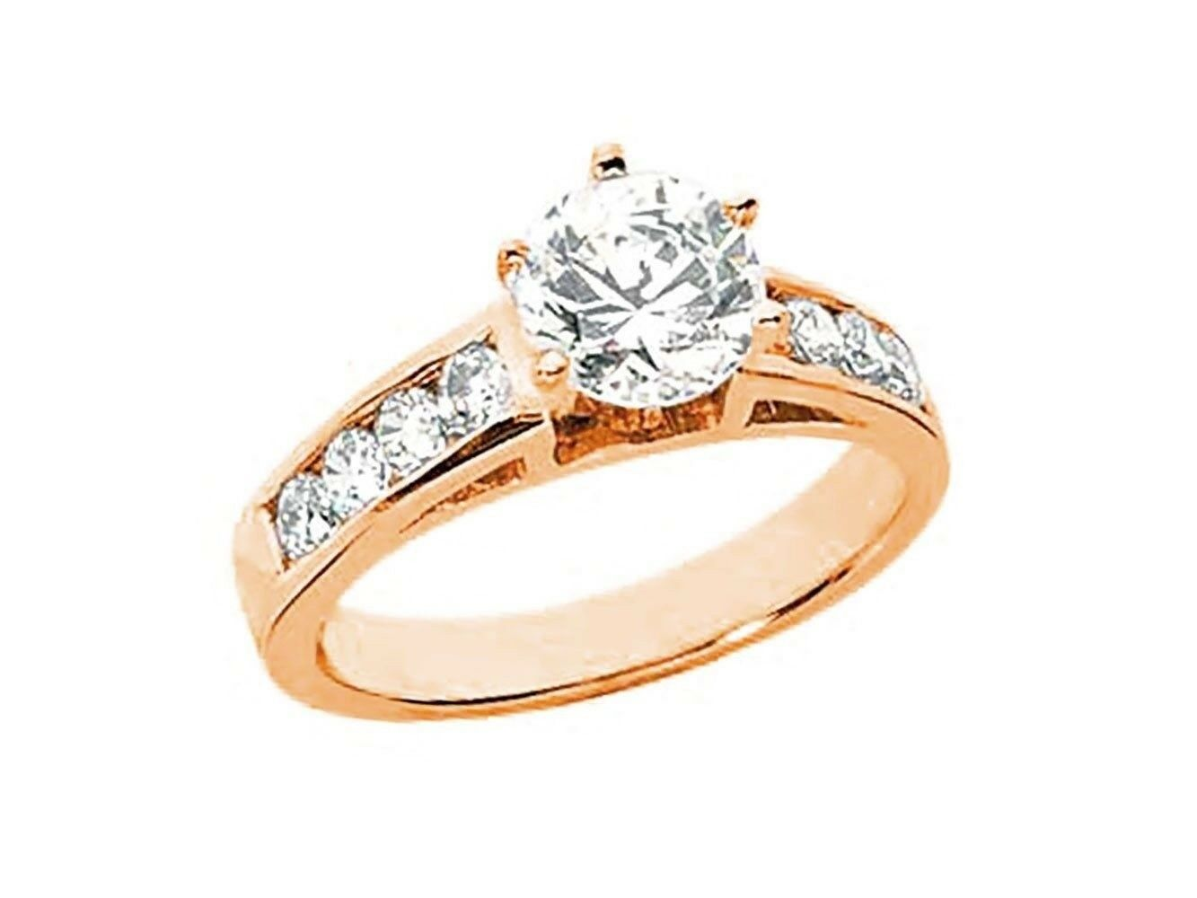 Natural 0.90Ct Round Cut Diamond Cathedral Engagement Ring Solid 10k gold