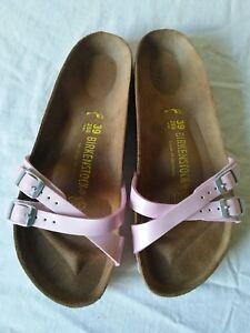 BIRKENSTOCK-Women-039-s-Pink-Double-Strap-Patent-Flip-Flop-Sandals-Shoes-Size-39