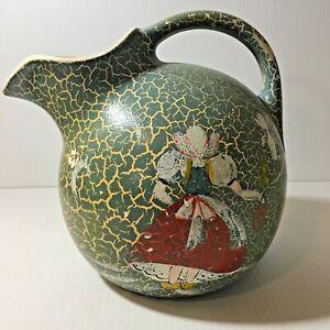Vintage Art Pottery Pitcher Crackle Glaze Dutch Girl Blue Green