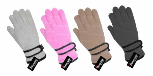 Girls Thinsulate Thermal Lined Fleece Gloves Pink Grey Cream Childrens Kids