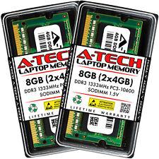 A-Tech 8GB 2 x 4GB PC3-10600 Laptop SODIMM DDR3 1333 MHz 204pin Memory RAM 8G 4G