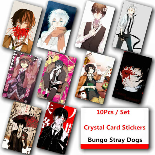 10Pcs Bungou Stray Dogs Crystal Card Stickers Japanese Anime Poster Photo