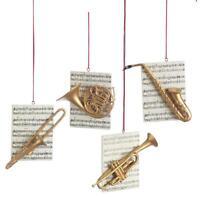 Instrument W/ Sheet Music Saxophone Trumpet, Trombone, Or Horn Ornament