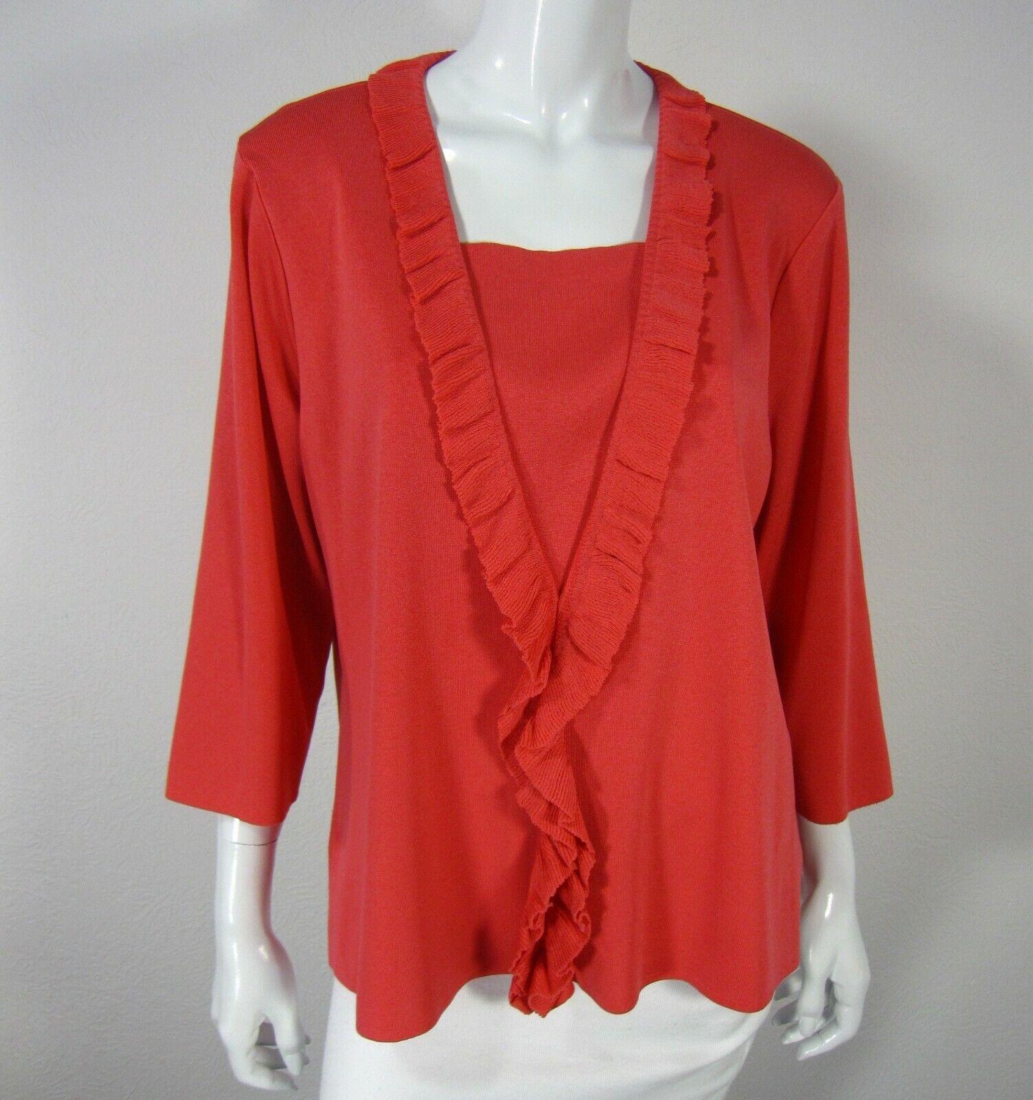 Exclusively Misook Long Sleeve Ruffled Neck Blouse Sweater  X Large XL Orange