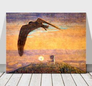 MIKALOJUS-CIURLIONIS-Fairy-Tale-II-Bird-amp-Baby-CANVAS-PRINT-POSTER-10x8-034