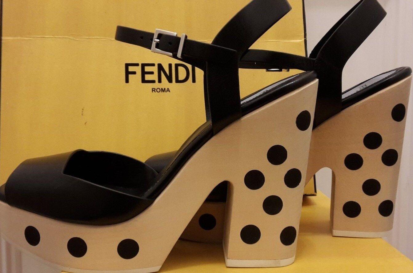 FENDI lusso. Sandali in pelle di lusso. FENDI a Pois Tacchi. Nero. 7uk (40.5eur 10usa) ea21f8
