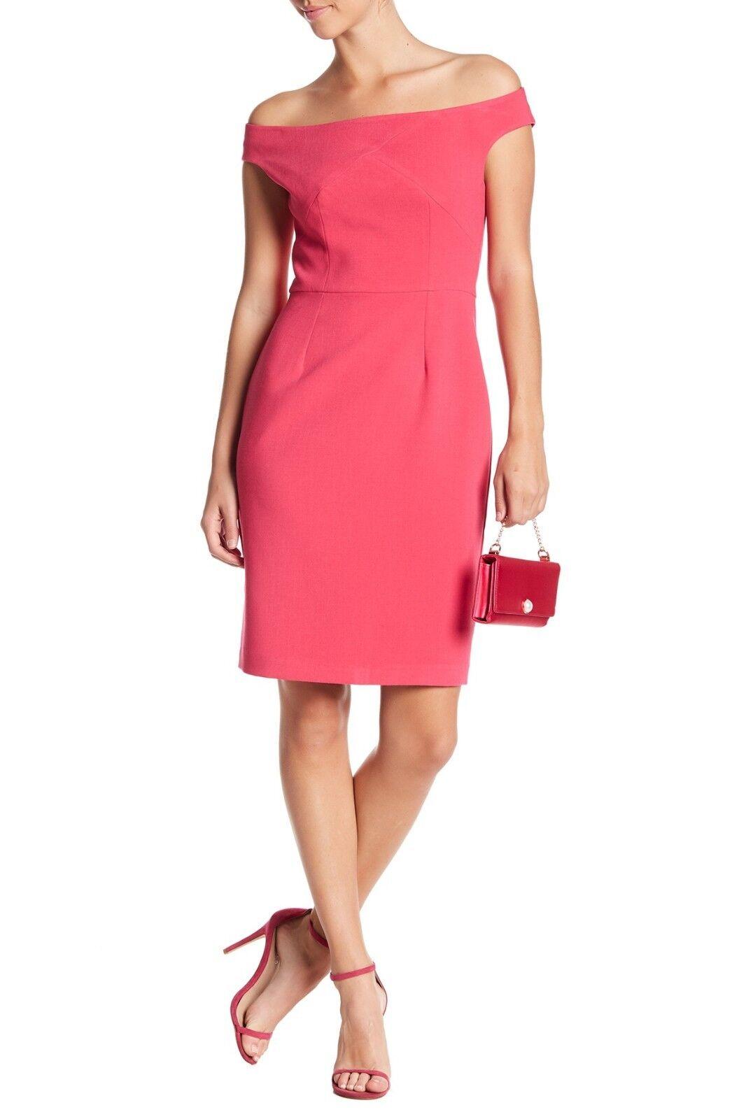 NWT schwarz Halo Claire Off-the-Shoulder Short Sleeves Dress Rosa Größe 2