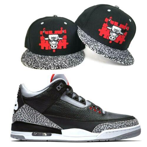 New Era Chicago Bulls snapback hat Jordan 3 Black Cement