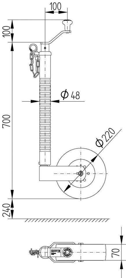 Trailer Næsehjul ribbet m/bred hjul - ø: 48 mm, lastevne