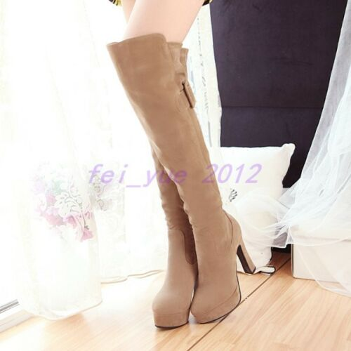 Womens Suede Platform High Block Heels Slouch Over Knee Thigh Boots Riding Shoes