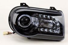 Chrysler 300C 05-10 Projector LED DRL Headlights Glossy Black PAIR RH LH