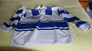MAILLOT-RUGBY-BLEU-RAYE-BLANC-TAILLE-10-12-ANS-N-15
