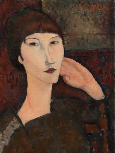 AMEDEO MODIGLIANI ITALIAN ADRIENNE WOMAN BANGS OLD ART PAINTING POSTER BB4818A