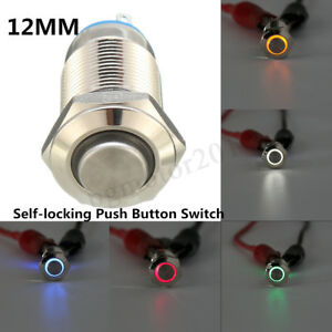 4 pin 12mm led light metal high round push button latching switch