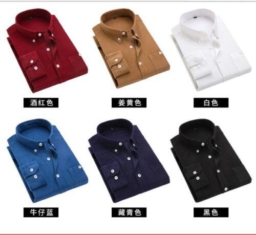Chemise décontractée Hommes Velours Côtelé Coton Top Slim Fit Vintage doux à manches longues Taille Plus