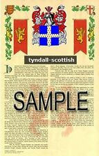 TYNDALL Armorial Name History - Coat of Arms - Family Crest GIFT! 11x17