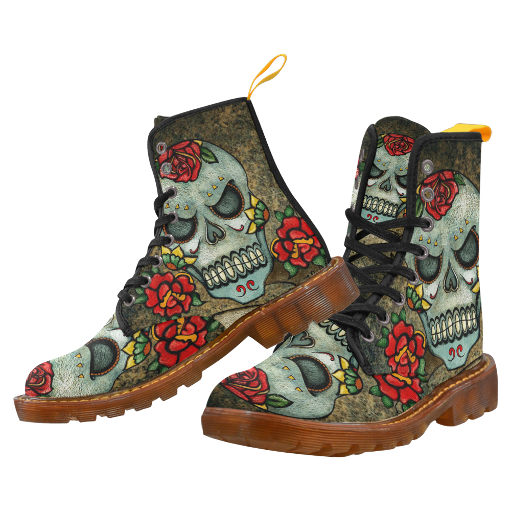 Sinister Sugar Skull Combat Stiefel - Made To Order -Gothic, Punk