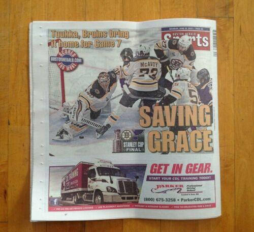 Boston Herald Boston Bruins Newspaper Stanley Cup Game 7 Finals Champions !