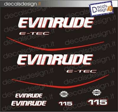 2 adesivi in vinile per motore fuoribordo imbarcazione nautica EVINRUDE E-TEC